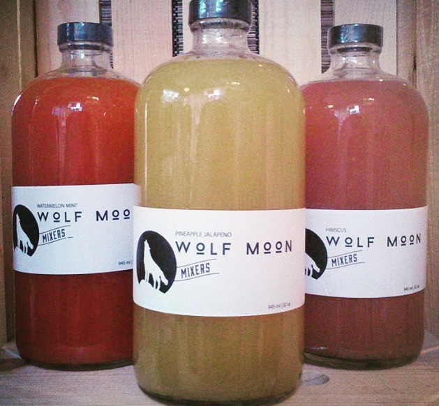 Wolf Moon Cocktail Mixers - Watermelon Mint, Pineapple Jalapeño, Hibiscus. All made with fresh juice.