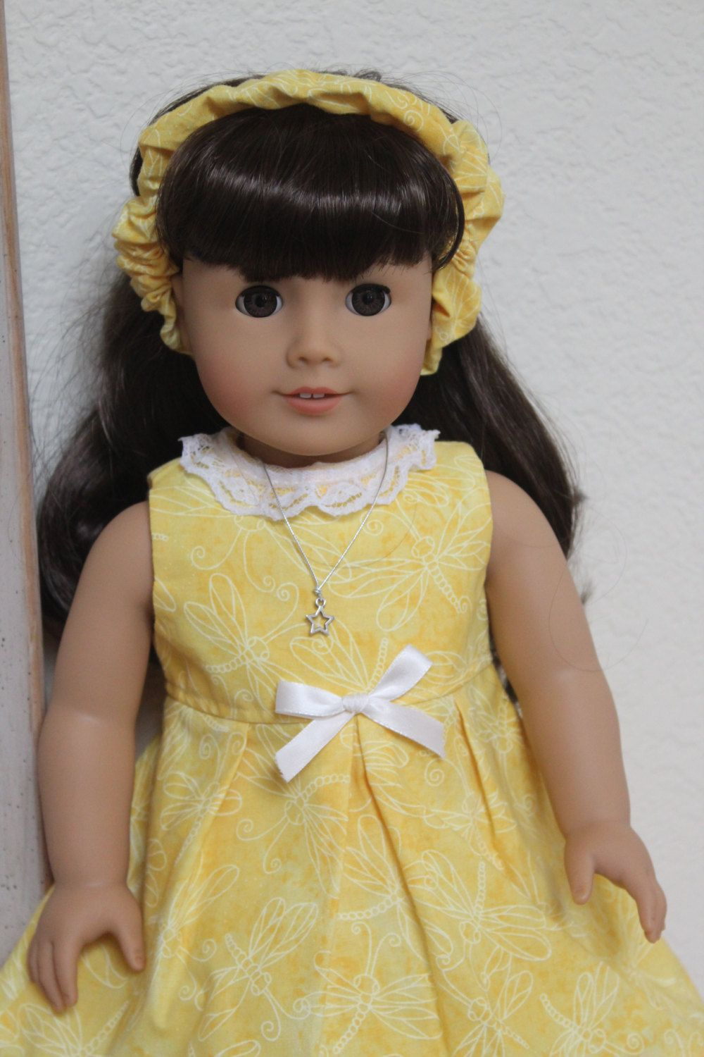 American Girl Doll Clothes Yellow Dragonfly Summer Dress will fit most other 18 inch Dolls by Sariahsdollcloset on Etsy