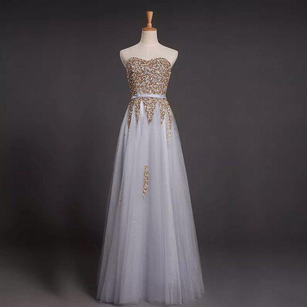 Sweetheart rhinestone long aline tulle lace up prom dresses bg