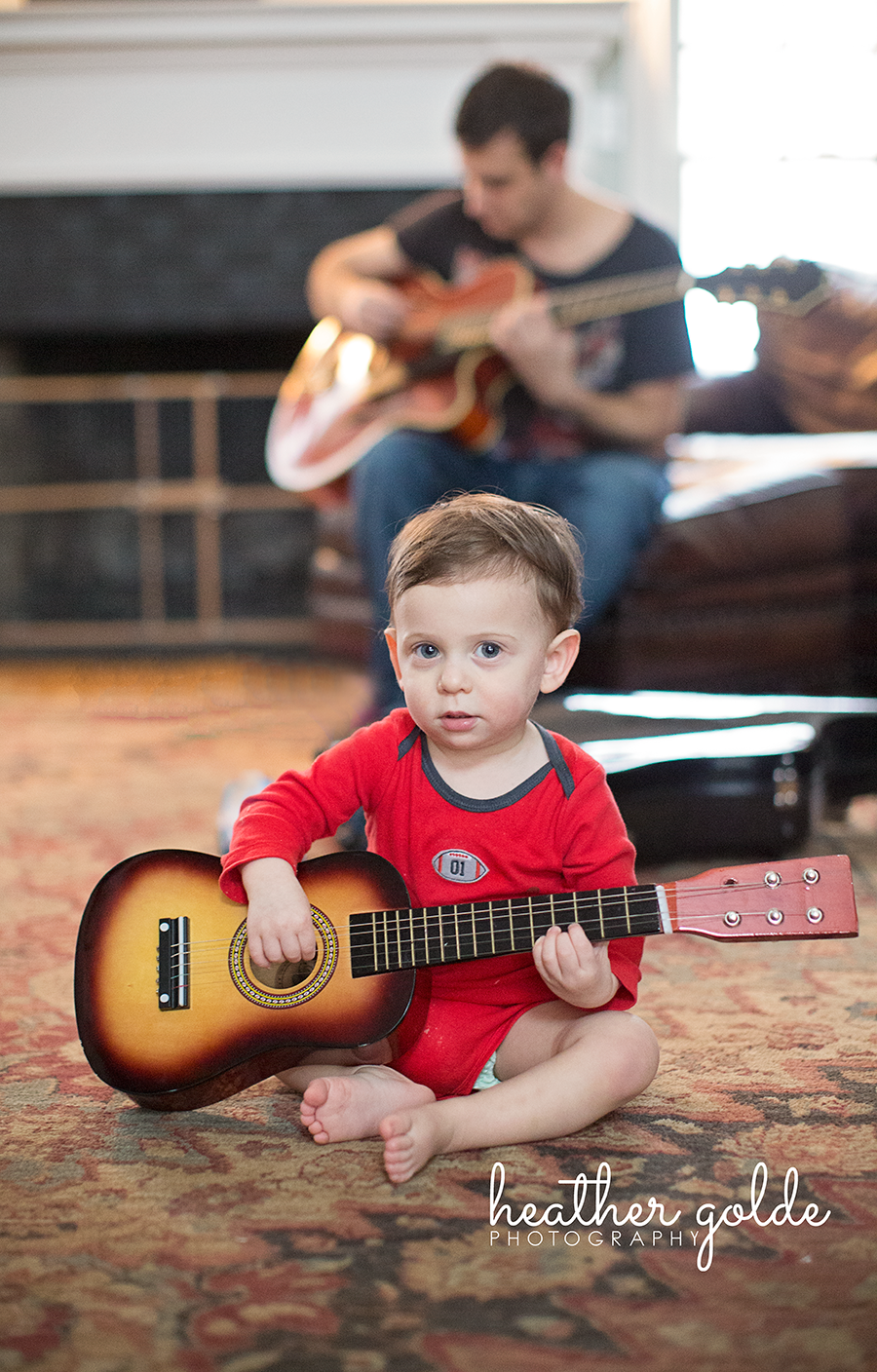 Heather Golde photography, baby playing guitar, baby and
