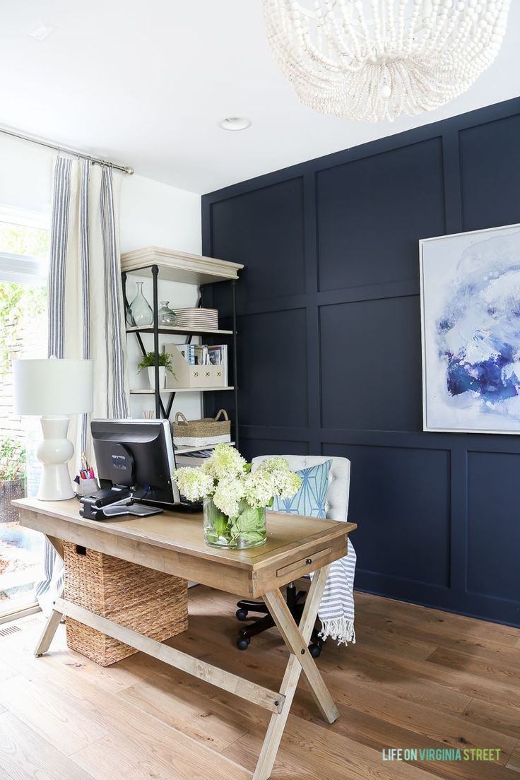 Home Office Space With Dark Accent Wall Home Office Furniture Office Room Decor Home Office Decor