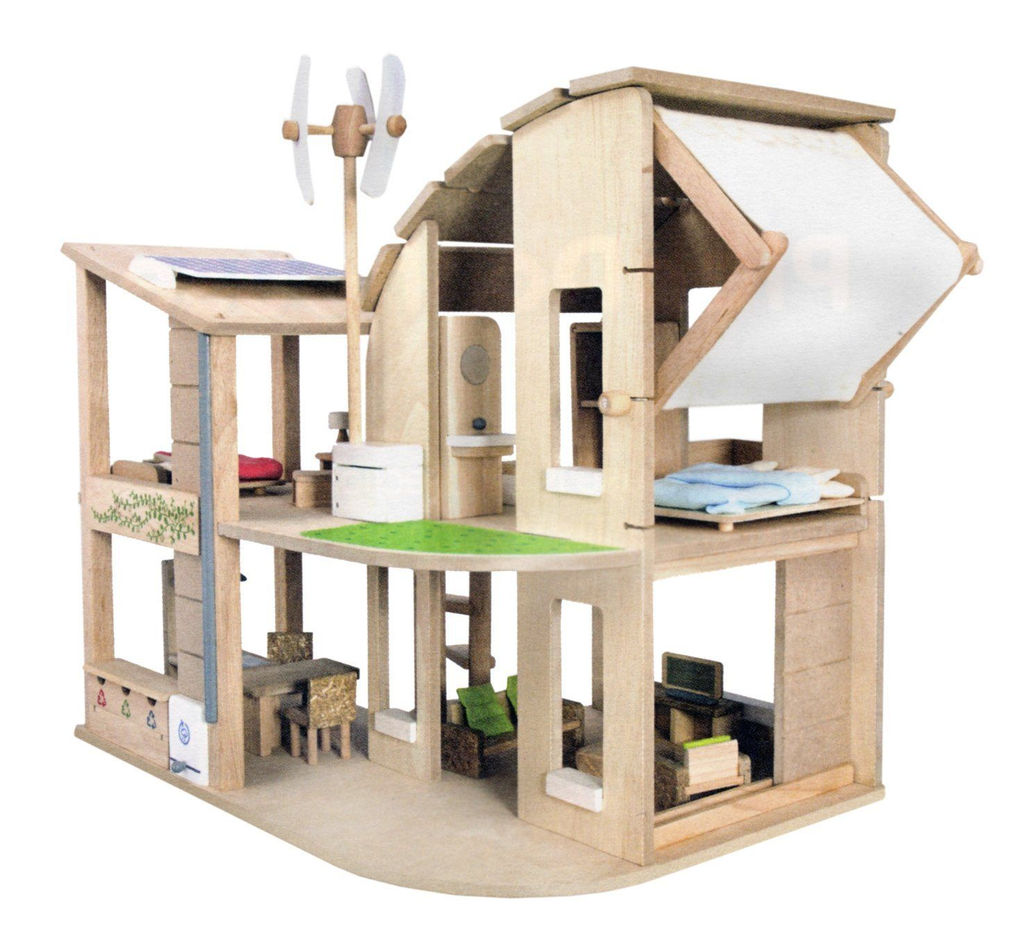 Amazon Com Plan Toys The Green Dollhouse With Furniture Toys