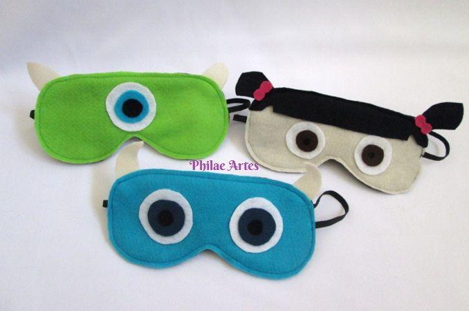 Monsters S.A. SA - Sulley, Mike and Boo. Felt Sleeping Mask. Monstros S.A. Máscaras de feltro para dormir, descansar.