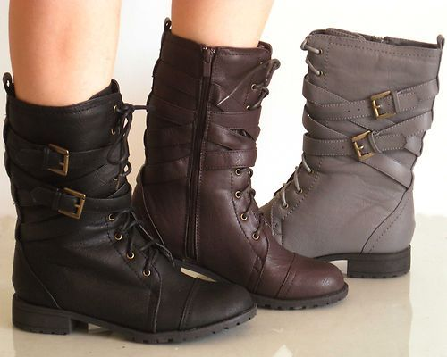 New Womens Mid Calf Gladiator Military Combat Boots