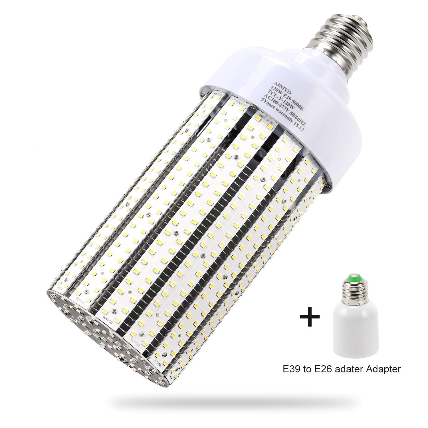 120w Led Corn Cob Light Bulb Large Mogul Base E39 Led Bulbs 5000k Daylight Ac110 277v Led Replacement 600w Metal Halide Hid Hps For S With Images Led Bulb Bulb Light Bulb