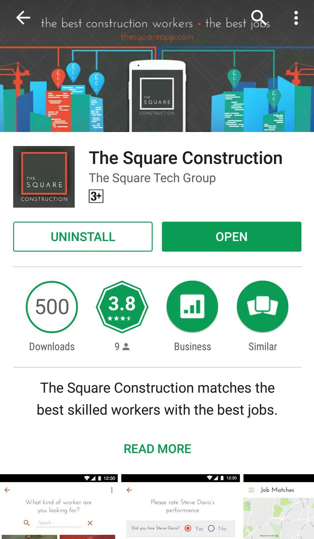 The Square Construction matches the best skilled workers