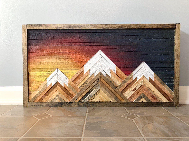 Mountain Wood Wall Art Decor Mountain Wood Art Mountain Wood Wall Art Wood Wall Art Decor