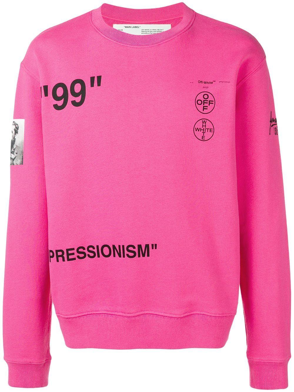 Off White Impressionism Sweatshirt Pink Cottonsweartshirt Off White Clothing Sweatshirts Cotton Sweatshirts [ 1334 x 1000 Pixel ]