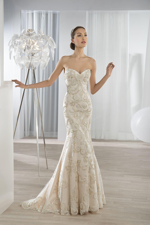 Fit \'n flare beaded lace Sweetheart neckline dress. #DemetriosBride ...