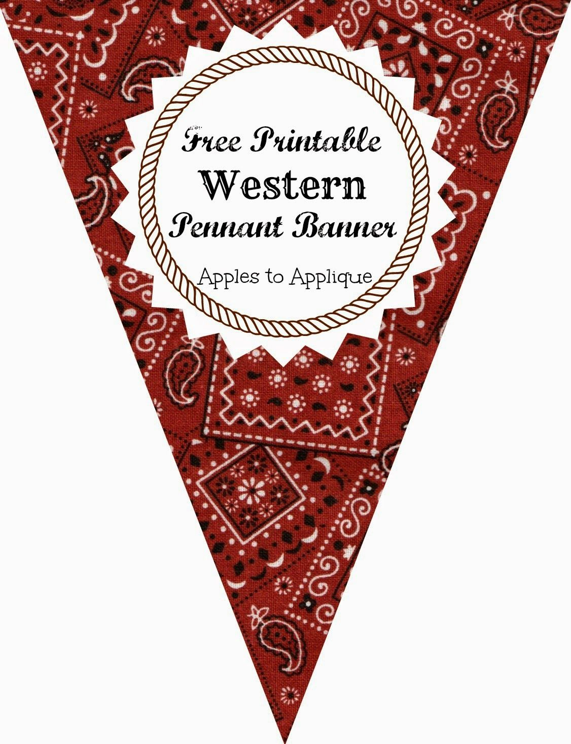 Free printable western themed pennant banner includes all for Party wall letter template