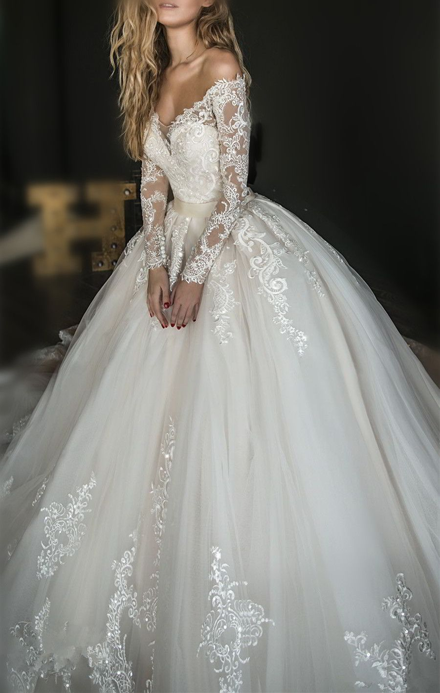 2018 Elegant White Lace Off Shoulder Wedding Dress Long Sleeves Appliques Bridal Bridal Dresses Lace Off Shoulder Wedding Dress Lace Off Shoulder Wedding Dress [ 1417 x 900 Pixel ]