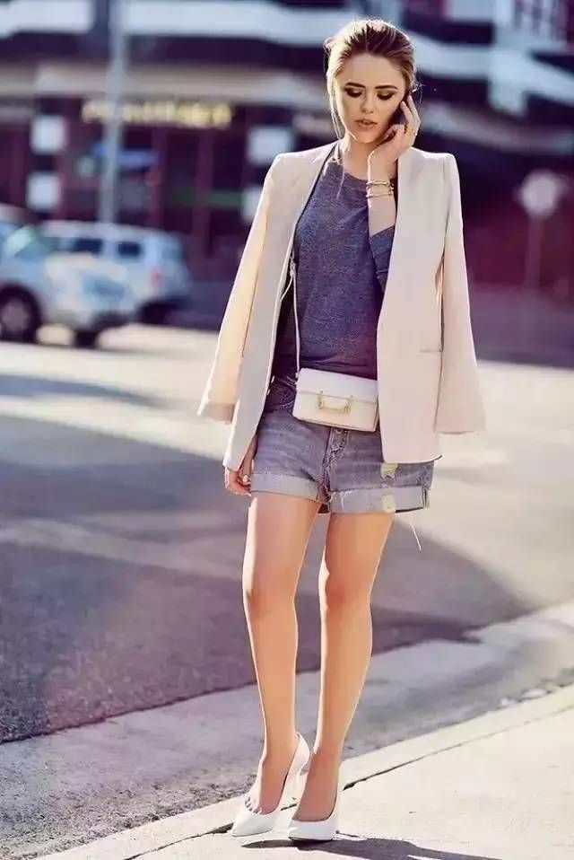 Fashion Styles: Suit Coat, Grey Shirt & Denim Shorts