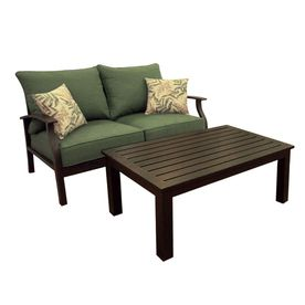 Allen Roth 2 Piece Eastfield Aluminum Patio Loveseat And Coffee Table Set With Textured Green Cushions 284