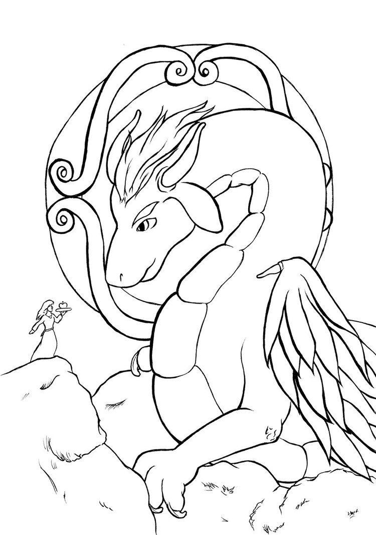 Gentle Dragon Sword And Sorcery Kleurplaten Voor Volwassenen Kleurplaten