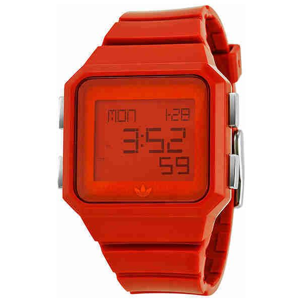Adidas Peachtree Digital Red Unisex Watch ($40) ❤ liked on Polyvore featuring jewelry, watches, digital watches, dial watches, red watches, alarm watches and bezel watches