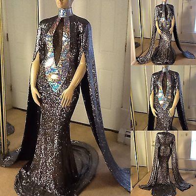GOLD LAS VEGAS DIVA Fringe DRAG QUEEN LONG SLEEVE Dress