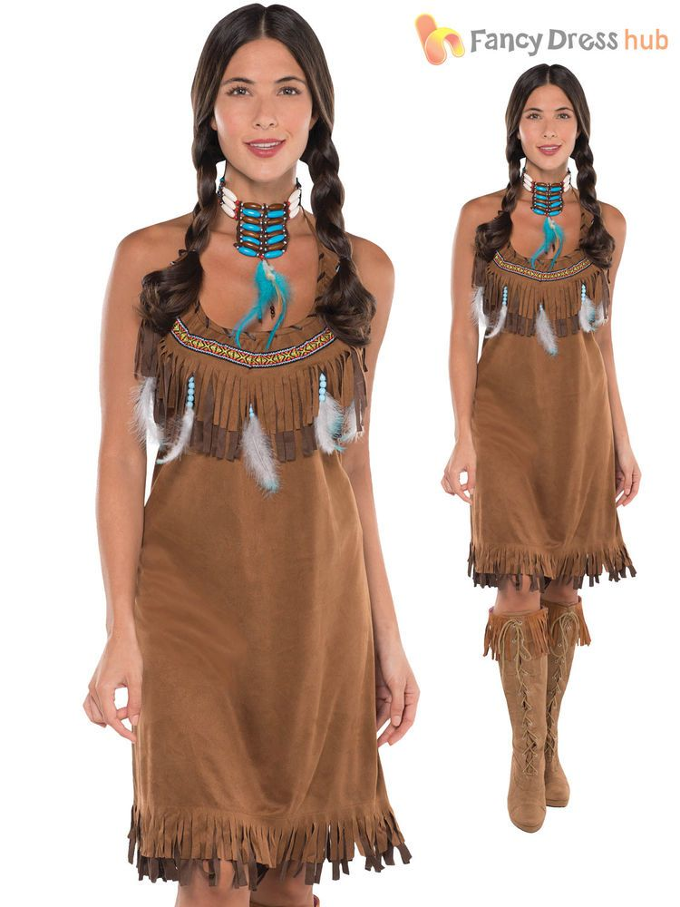 Black Native American Indian Squaw Woman Pocahontas Wig Wild West Fancy Dress