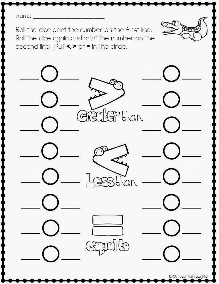 Freebie Greater Than Less Than Equal To First Grade Math