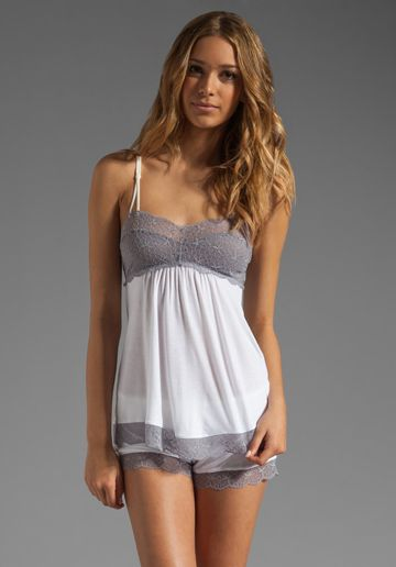 EBERJEY Butterfly Valley Cami and Shorts in Snow/Slate at Revolve Clothing