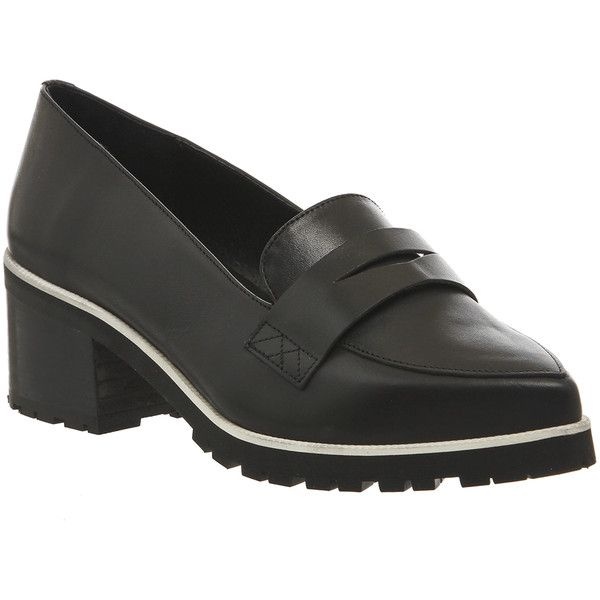 Office Quaver Cleated Sole Loafers (79 NZD) ❤ liked on Polyvore featuring shoes, loafers, black leather, mid heels, women, pointy toe loafers, black mid heel shoes, kohl shoes, black shoes and pointed toe shoes