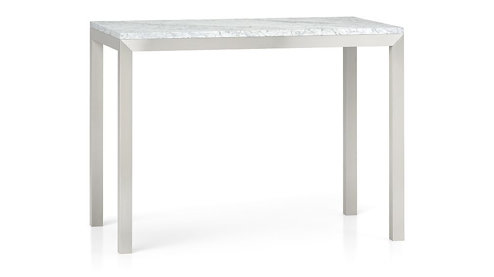 Parsons White Marble Top Stainless Steel Base 48x28 High Dining