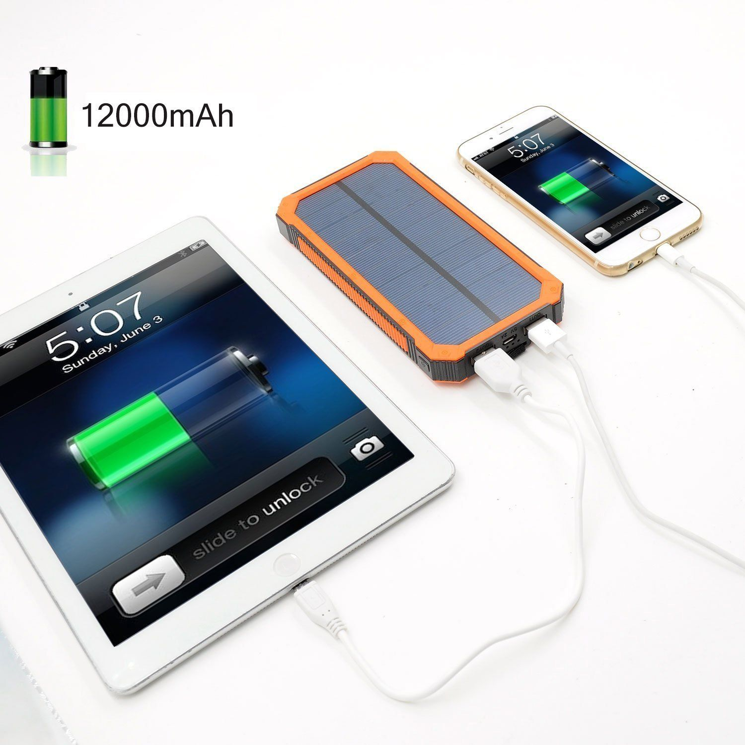 Amazon Com 12000mah Solar Charger Portable Solar Powered Phone Charger Dual Usb Solar Ext Solar Powered Phone Charger Solar Charger Portable Solar Power Bank
