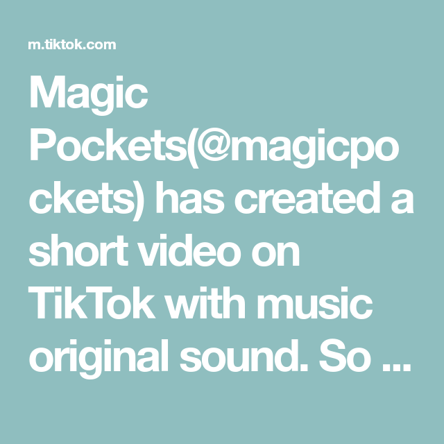 Magic Pockets Magicpockets Has Created A Short Video On Tiktok With Music Original Sound So Funny Funnyvideos Hearts Online The Originals Funny Clips