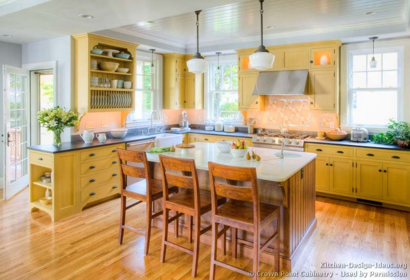 #Kitchen Of The Day: A Bright Country Kitchen With Yellow Cabinets, Custom Wood Island
