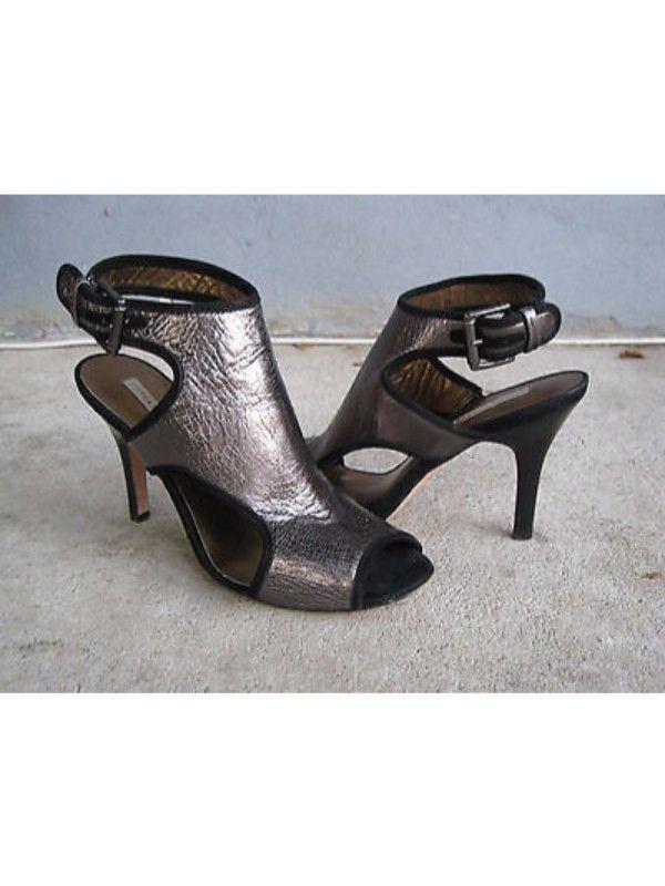 Cynthia Vincent Metallic Leather Heels 9.5