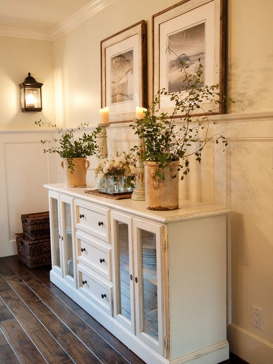 Old Dresser Repainted Remove Drawers On Each End Replace W Glass Doors Home Decor Home Dining Room Decor
