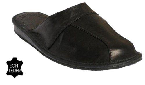 Herren Hausschuhe Leder (Kalbsleder) Pantoffeln Schwarz vorn voll M28 - http://on-line-kaufen.de/janex/herren-hausschuhe-leder-kalbsleder-pantoffeln