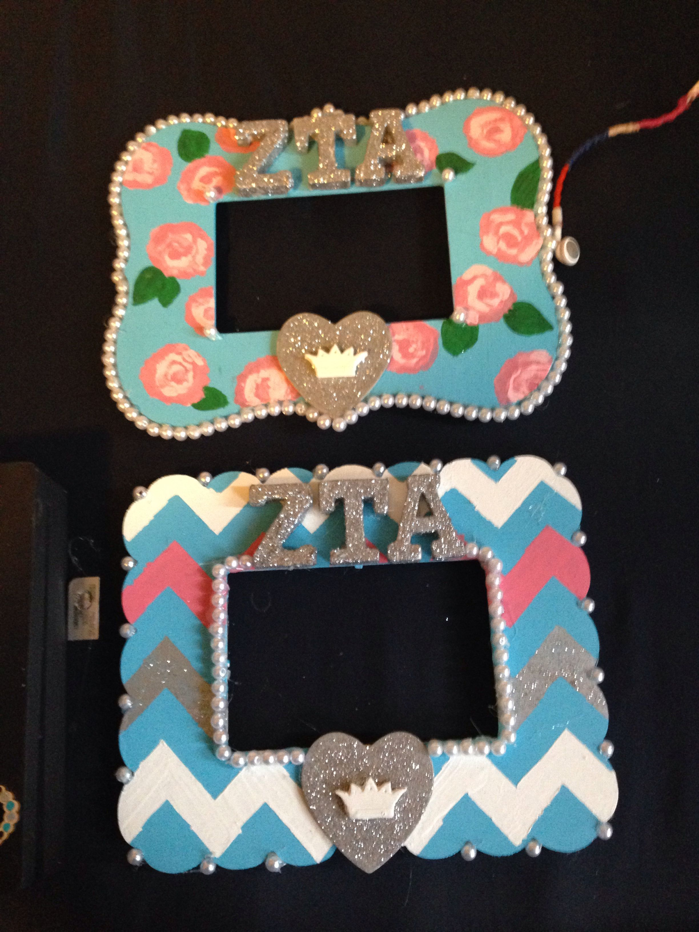 Picture frames I made for my G and GG #zta #zetataualpha #sororitycraft