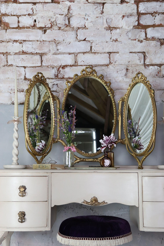 Stunning Freestanding Vintage French Gilt Triple Dressing Etsy Dressing Table Mirror Vintage Dressing Tables French Vintage