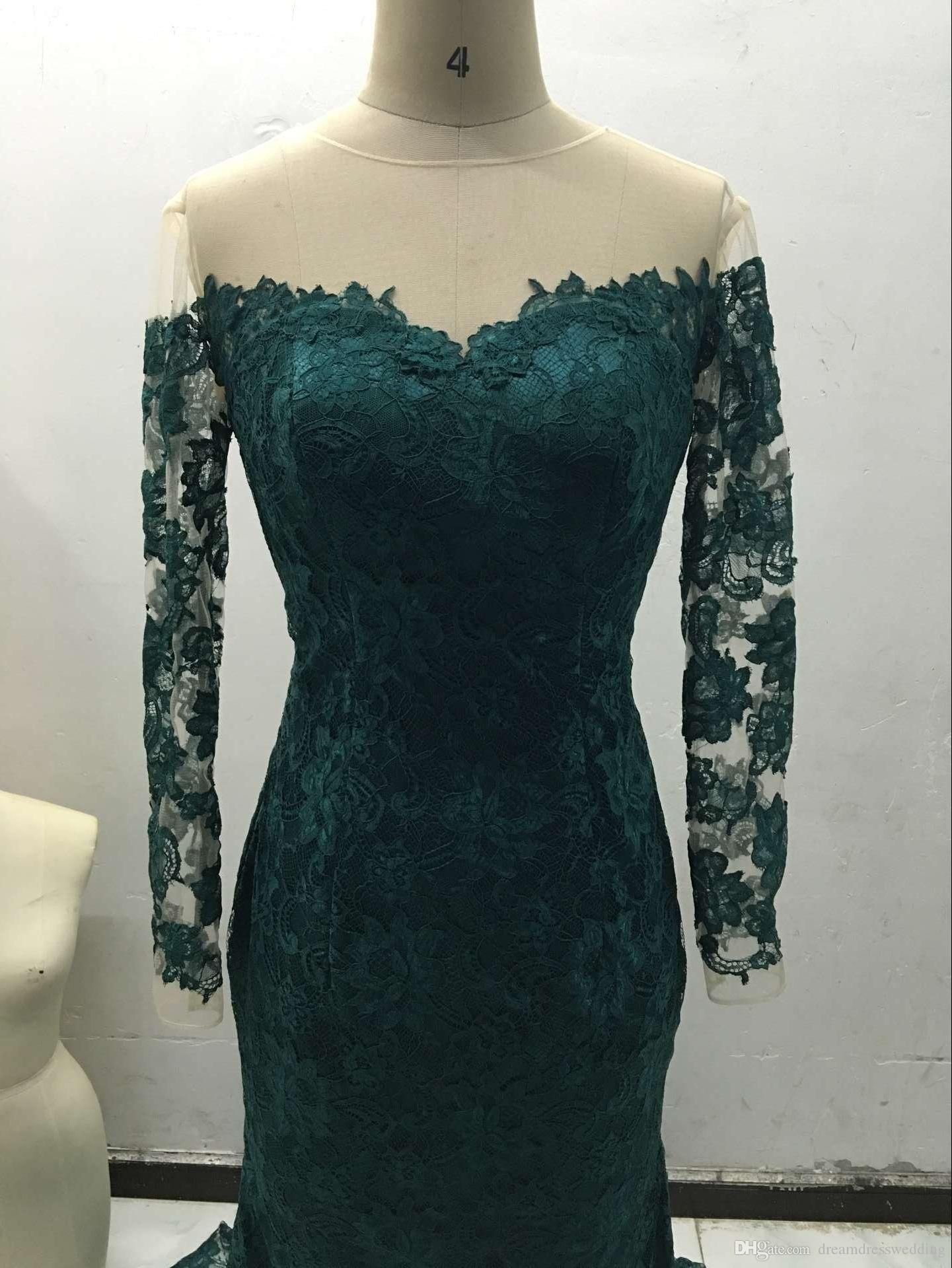 2016 Hot Our Real Picture Emerald Jewel Mermaid Lace Evening Dresses ...