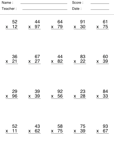 Image result for multiplication by 2 digits | Math 3 ...