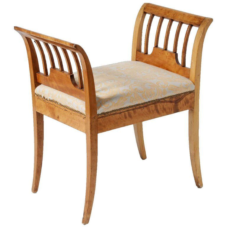 Swedish Biedermeier Window Seat In Birch Circa 1880 Furniture Seating Vintage Bench