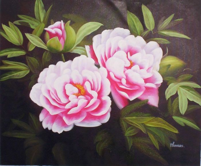 Oil paintings of flowers high quality flower oil - High resolution watercolor flowers ...