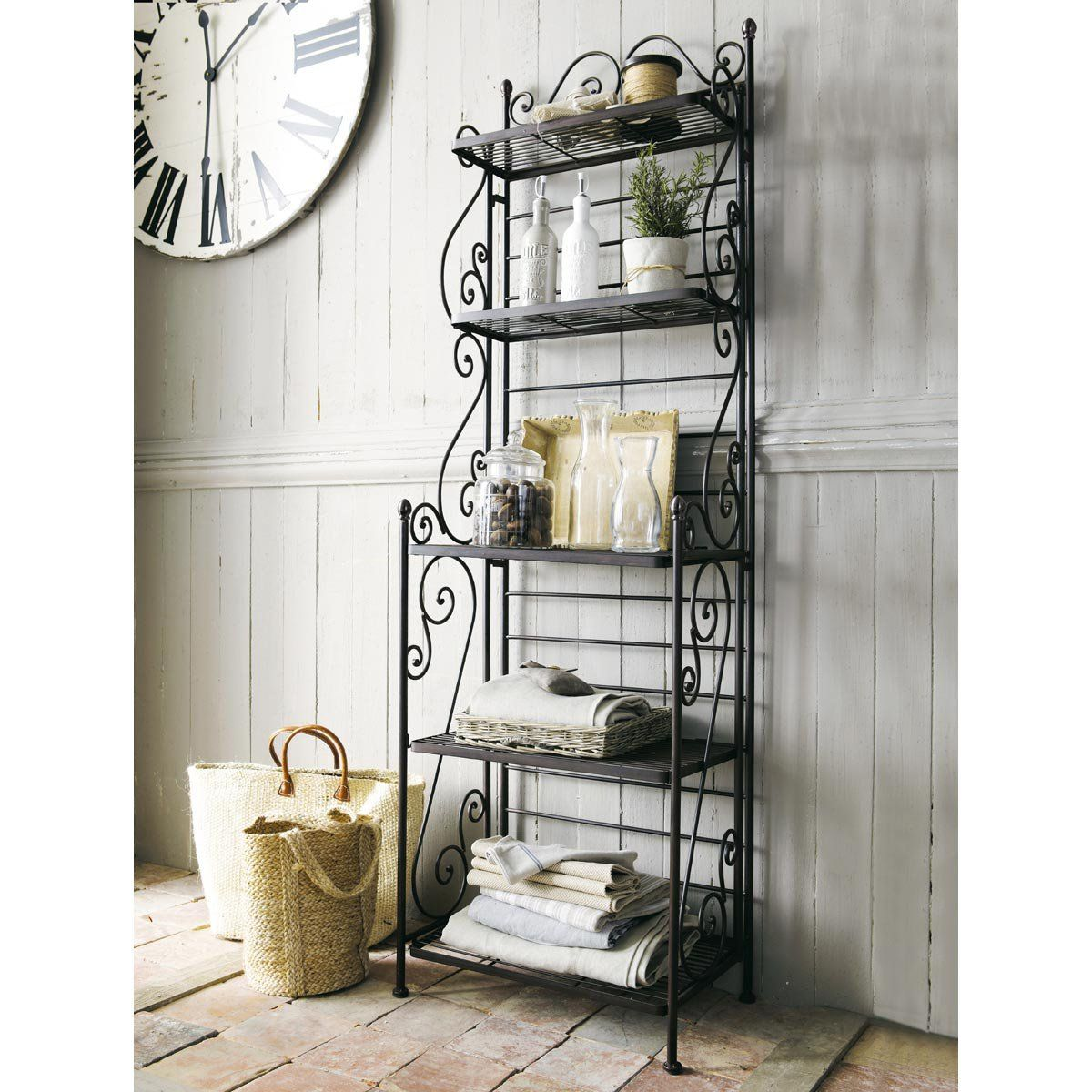 Brown wrought iron shelf manon bathroom pinterest iron shelf wrought iron and shelves for Wrought iron bathroom furniture
