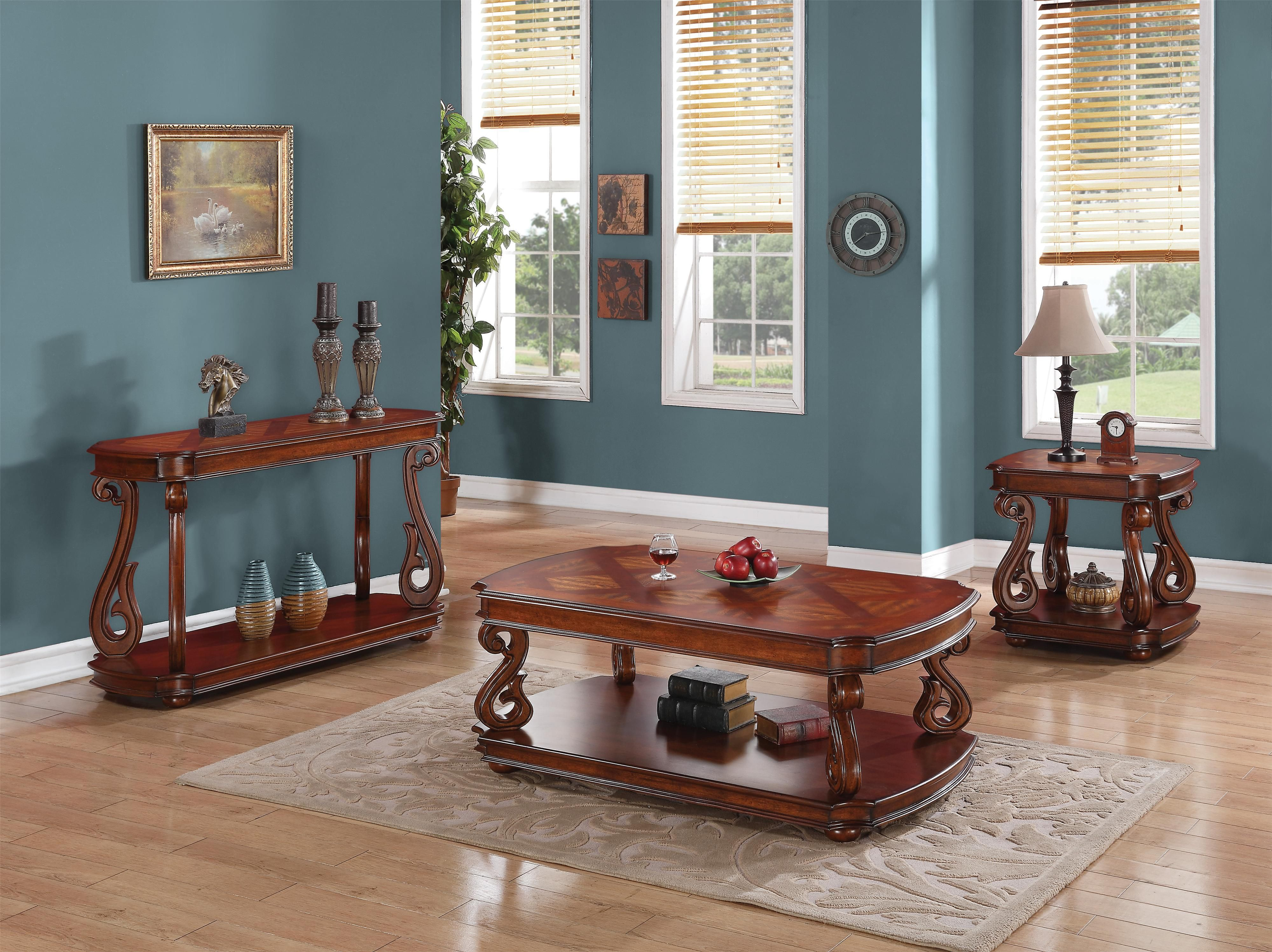 Coaster Occasional Group Traditional End Table With Parquet Veneers In Dark  Cherry Finish   Rooms Furniture   End Table Houston, Sugar Land, Katy, ...