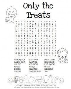 Halloween Treats Word Search Halloween Word Search Halloween Words Halloween Worksheets