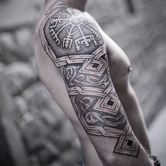 Another Look At This Beautiful Half Sleeve Tattooed By Lahhel Design Created By Blackhandnomad To B Scandinavian Tattoo Nordic Tattoo Norse Tattoo