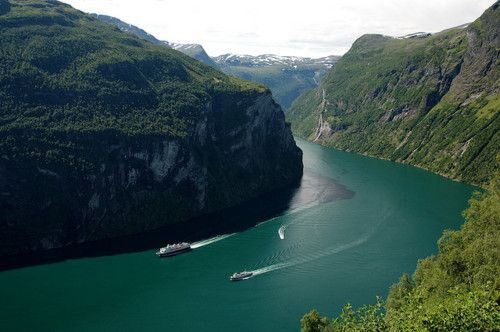 The Geiranger Fjord is one of Norway's most visited tourist sites and has been listed as a UNESCO World Heritage Site since 2005. A car ferry, which doubles as a sightseeing trip runs lengthwise along the fjord between the small towns of Geiranger and Hellesylt.