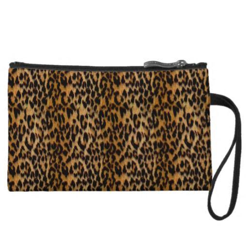 Women's Crushed Velvet Leopard Skin Wristlet