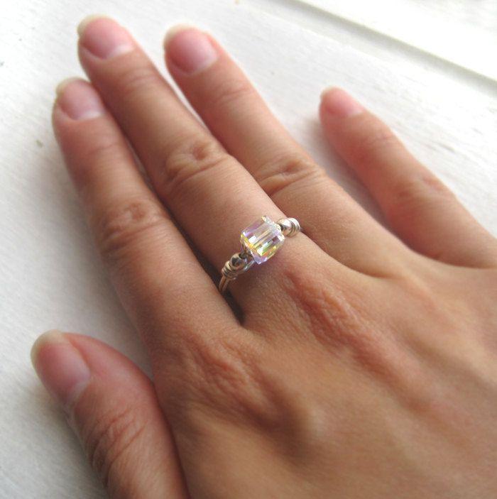 Swarovski Aurora Borealis Crystal Cube And Sterling Silver Ring