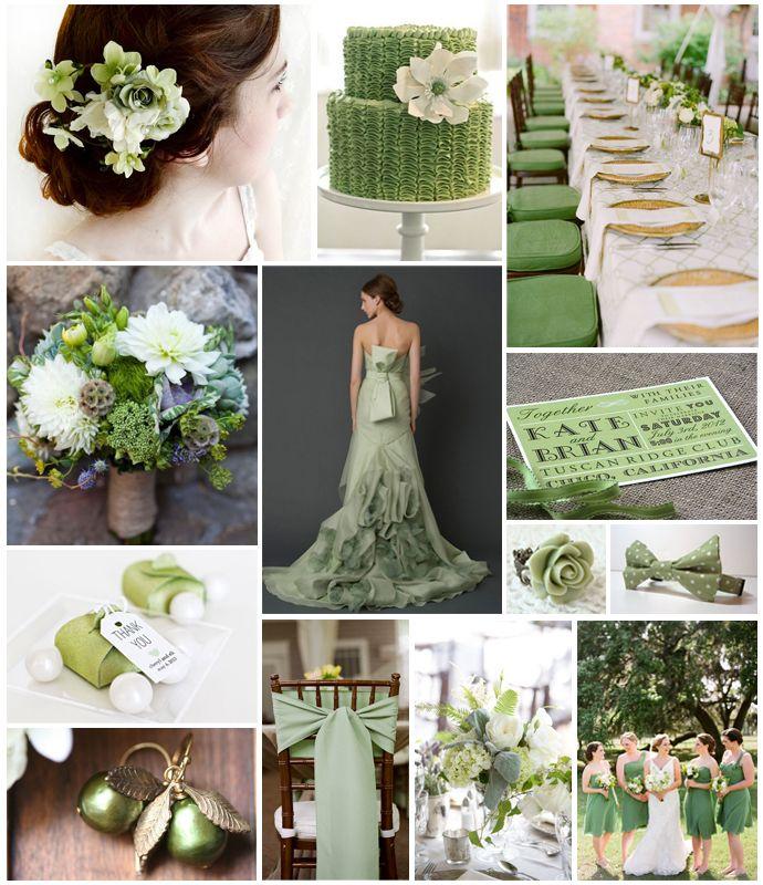 Green Wedding Ideas: Sage Green Wedding Theme Board #FearlessBrides