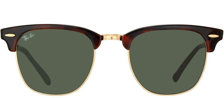 76b3518a91d5 Ray-Ban RB3016 Clubmaster W0366 Mock Tortoise   Arista Gold Sunglasses  Green Lens