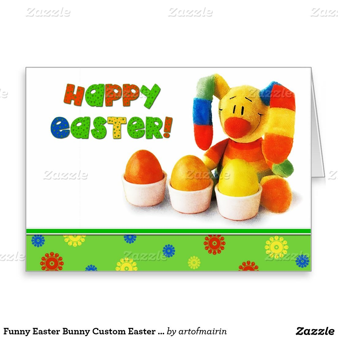 Happy Easter Funny Easter Bunny Customizable Greeting Cards For