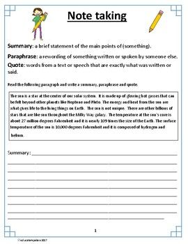 Introduction X2f Practice To Note Taking Student Are Given The Definition Of Summary Paraphrase And Quoting There I A Short Quote Paraphrasing Summarizing 3rd Grade Pdf