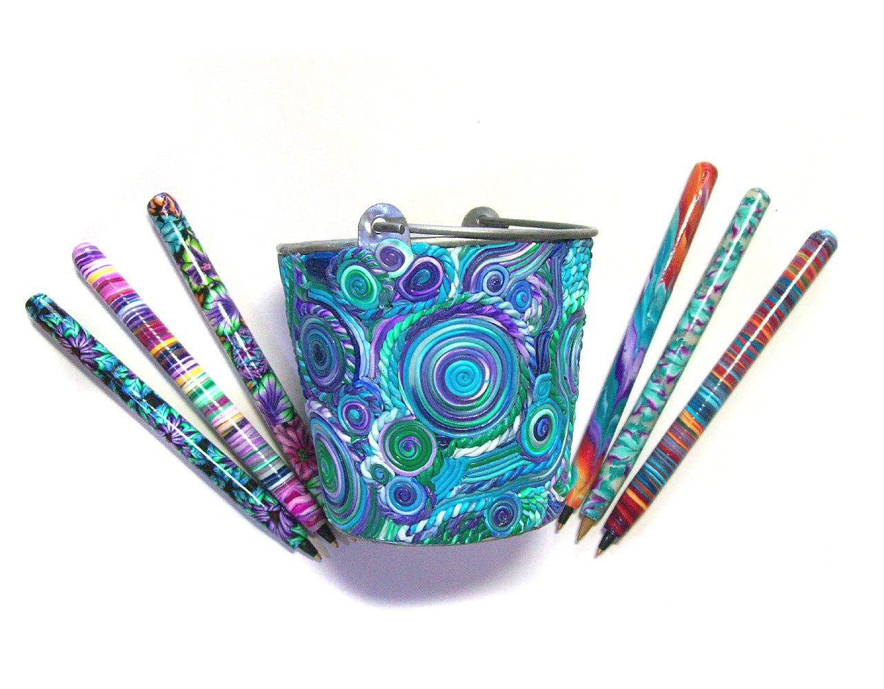 Pen Pot With 6 Pens Polymer Clay Design Pp52 Etsy Clay Design Polymer Clay Polymer Clay Crafts