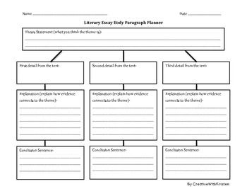 Literary Essay Graphic Organizer  Literacy    Graphic